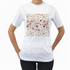 Pattern Hearts Kiss Love Lips Art Vector Women s T Shirt (white) (two Sided)