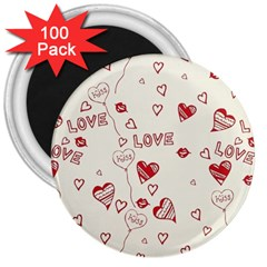 Pattern Hearts Kiss Love Lips Art Vector 3  Magnets (100 Pack)