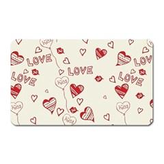 Pattern Hearts Kiss Love Lips Art Vector Magnet (rectangular)