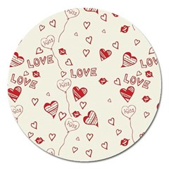 Pattern Hearts Kiss Love Lips Art Vector Magnet 5  (round)