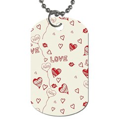 Pattern Hearts Kiss Love Lips Art Vector Dog Tag (one Side)