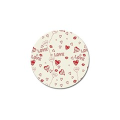 Pattern Hearts Kiss Love Lips Art Vector Golf Ball Marker (10 Pack)
