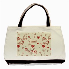 Pattern Hearts Kiss Love Lips Art Vector Basic Tote Bag