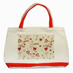 Pattern Hearts Kiss Love Lips Art Vector Classic Tote Bag (red)