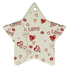 Pattern Hearts Kiss Love Lips Art Vector Star Ornament (two Sides)