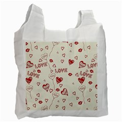 Pattern Hearts Kiss Love Lips Art Vector Recycle Bag (two Side)