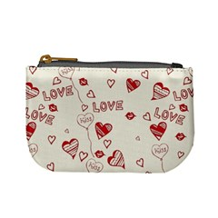Pattern Hearts Kiss Love Lips Art Vector Mini Coin Purses