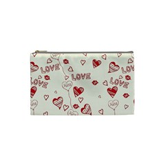 Pattern Hearts Kiss Love Lips Art Vector Cosmetic Bag (small)