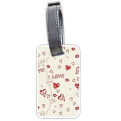 Pattern Hearts Kiss Love Lips Art Vector Luggage Tags (one Side)