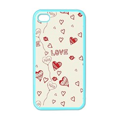 Pattern Hearts Kiss Love Lips Art Vector Apple Iphone 4 Case (color)