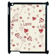 Pattern Hearts Kiss Love Lips Art Vector Apple Ipad 2 Case (black)