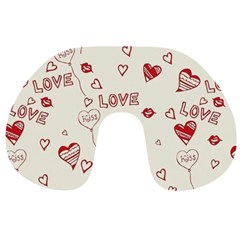 Pattern Hearts Kiss Love Lips Art Vector Travel Neck Pillows