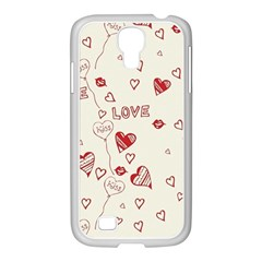 Pattern Hearts Kiss Love Lips Art Vector Samsung Galaxy S4 I9500/ I9505 Case (white)