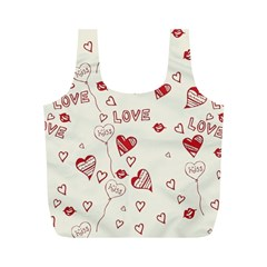 Pattern Hearts Kiss Love Lips Art Vector Full Print Recycle Bags (m)