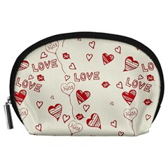 Pattern Hearts Kiss Love Lips Art Vector Accessory Pouches (large)