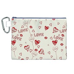Pattern Hearts Kiss Love Lips Art Vector Canvas Cosmetic Bag (xl)