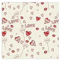 Pattern Hearts Kiss Love Lips Art Vector Large Satin Scarf (square)
