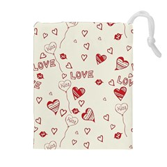 Pattern Hearts Kiss Love Lips Art Vector Drawstring Pouches (extra Large)
