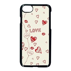 Pattern Hearts Kiss Love Lips Art Vector Apple Iphone 7 Seamless Case (black)