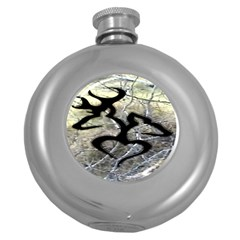 Black Love Browning Deer Camo Round Hip Flask (5 Oz)
