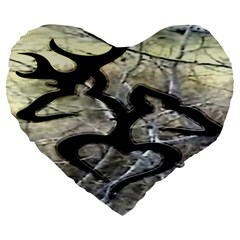 Black Love Browning Deer Camo Large 19  Premium Heart Shape Cushions