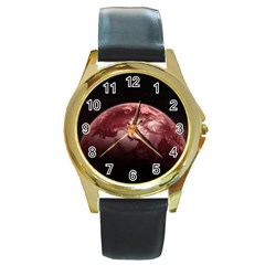 Planet Fantasy Art Round Gold Metal Watch
