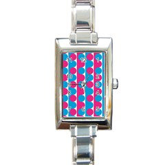 Pink And Bluedots Pattern Rectangle Italian Charm Watch