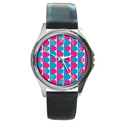 Pink And Bluedots Pattern Round Metal Watch