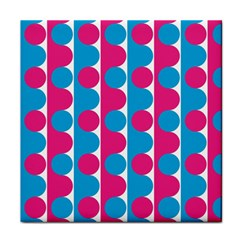 Pink And Bluedots Pattern Tile Coasters