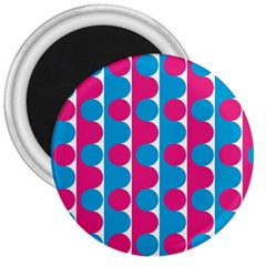Pink And Bluedots Pattern 3  Magnets
