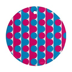 Pink And Bluedots Pattern Ornament (round)