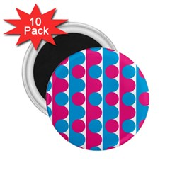 Pink And Bluedots Pattern 2 25  Magnets (10 Pack)