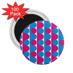 Pink And Bluedots Pattern 2 25  Magnets (100 Pack)