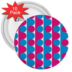 Pink And Bluedots Pattern 3  Buttons (10 Pack)