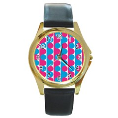 Pink And Bluedots Pattern Round Gold Metal Watch