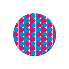 Pink And Bluedots Pattern Rubber Coaster (round)