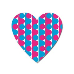 Pink And Bluedots Pattern Heart Magnet