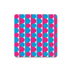 Pink And Bluedots Pattern Square Magnet