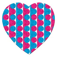 Pink And Bluedots Pattern Jigsaw Puzzle (heart)