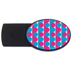Pink And Bluedots Pattern Usb Flash Drive Oval (4 Gb)