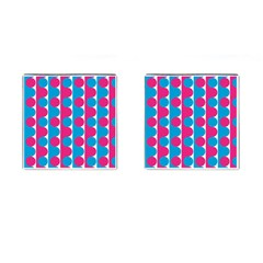 Pink And Bluedots Pattern Cufflinks (square)