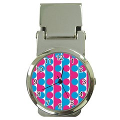 Pink And Bluedots Pattern Money Clip Watches