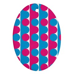 Pink And Bluedots Pattern Oval Ornament (two Sides)