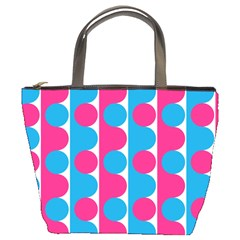 Pink And Bluedots Pattern Bucket Bags