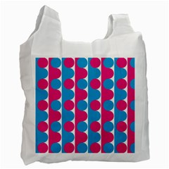 Pink And Bluedots Pattern Recycle Bag (two Side)