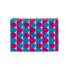 Pink And Bluedots Pattern Cosmetic Bag (medium)