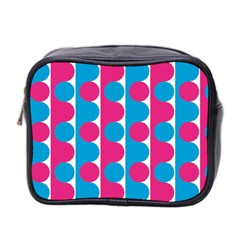 Pink And Bluedots Pattern Mini Toiletries Bag 2 Side