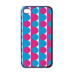 Pink And Bluedots Pattern Apple Iphone 4 Case (black)