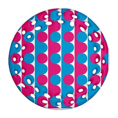 Pink And Bluedots Pattern Round Filigree Ornament (two Sides)