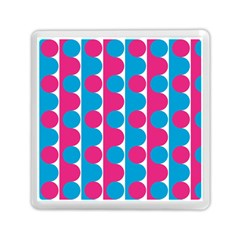 Pink And Bluedots Pattern Memory Card Reader (square)